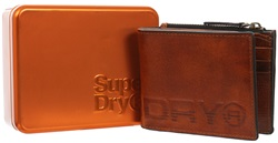 Superdry Tan Suede Profile Leather Wallet In A Tin