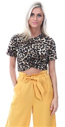 Glamorous Natural Leopard Cross Over Top