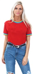 Daisy St Red Rainbow Stripe Ringer T-Shirt
