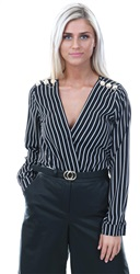 Missi Lond Black/White Stripe Wrap Over Top