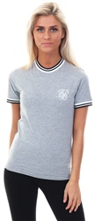 Siksilk Grey Marl Ringer Stripe Rib T-Shirt
