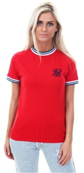 Siksilk Red Retro Ringer Stirpe Rib T-Shirt
