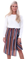 Miss Truth Red Stripe Wrapped Midi Skirt