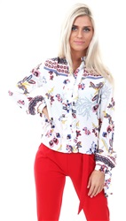 Style London White Crop Frill Floral Print Shirt