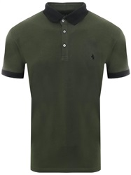 Alex & Turner Khaki / Navy S/S Polo T-Shirt