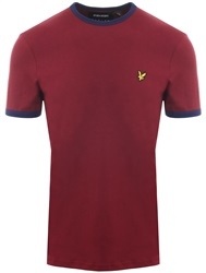 Lyle & Scott Claret Jug / Navy Short Sleeve Ringer T-Shirt