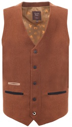Fratelli Rust Bold Button Up Fitted Waistcoat