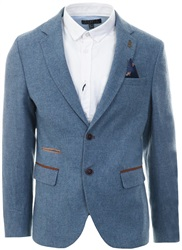 Fratelli Sky Blue Smart Tweed Button Up Blazer