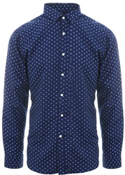 Brave Soul Navy/Optic Printed Pattern Shirt