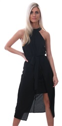 Ax Paris Black Halterneck Wrap Midi Dress
