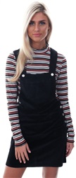 Brave Soul Black Cord Dungaree Dress
