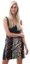 Missi Lond Multi Rainbow Sequin Mini Skirt