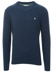Jack Wills Navy Marlow Cable Crew Neck Knit Jumper