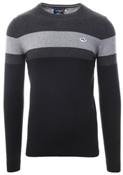 Le Shark Black Stripe Crew Neck Knit Sweater