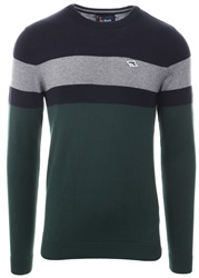 Le Shark Green Stripe Crew Neck Knit Sweater