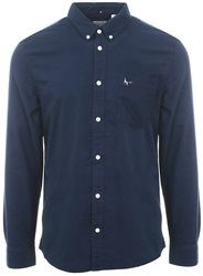 Jack Wills Navy Wadsworth Plain Oxford Shirt
