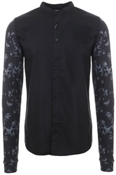 Siksilk Black/Black Venetian G/Dad Contrast Long Sleeve Oxford Shirt