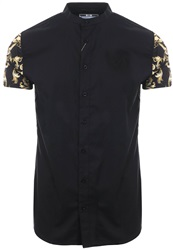 Siksilk Black / Gold S/S Grandad Collar Oxford Shirt