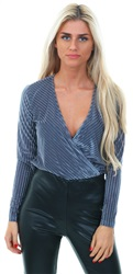 Urban Bliss Dusky Blue Velvet Wrap Bodysuit