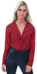 Lexie & Lola Red Twist Leopard Bodysuit
