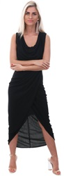 Wal/G Black Ruched Long Wrap Sleeveless Dress
