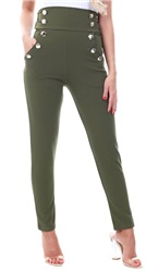 Parisian Khaki Button Detail High Waist Trouser