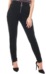 Style London Black Tassel Front Zip Leggings