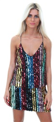 Missi Lond Multi Rainbow Sequin Chain Top