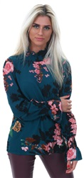 Ax Paris Teal Floral Rusched Sleeve And Collar Blouse