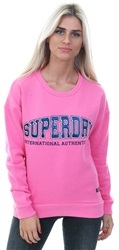 Superdry Active Pink Urban Street Applique Crew Jumper