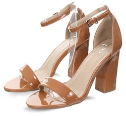 Bebo Camel Patent Block Heel Shoe