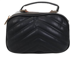 Gessy Black Gold Chain Quilted Side Handbag