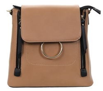 4183e65a4c Gessy Tan Front Hoop Zip Detail Handbag