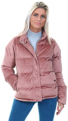Brave Soul Dusty Pink Corrine Padded High Neck Coat