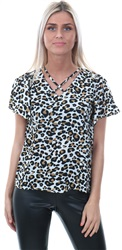 Cutie London Cream Leopard Print Short Sleeve Top