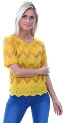 Cutie London Mustard Short Sleeve Zip Zag Top