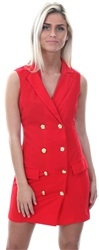 Ax Paris Red / Red Button Up Blazer Dress