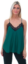 Style London Green Lace Trim Cami Top