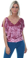 Style London Pink Velvet Look Cold Shoulder Top