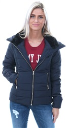 Only Navy Brooke Padded Short Zip Jacket