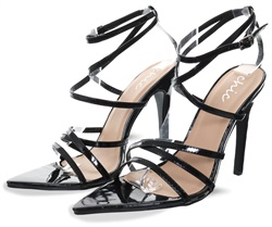 No Doubt Black Patent Open Toe Strappy Heels