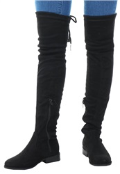 No Doubt Black Over Knee Tie Suede Boot