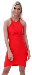 Wal/G Red Halterneck Short Bodycon Panel Dress