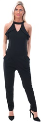 Wal/G Black High Neck Open Detail Jumpsuit