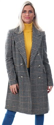Veromoda Rust Check Wool Longline Coat