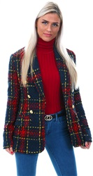 Girl In Mind Red Tweed Smart Tailored Blazer