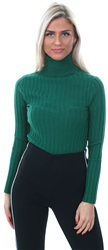 Qed Bottle Green Rib Roll Neck Sweater
