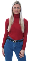 Qed Red Rib Roll Neck Sweater