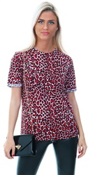Pieces High Risk Red Short Sleeved Leopard Blouse
