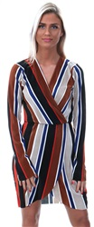 Influence Multi Stripe Plissé Wrap Over Mini Dress
